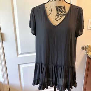 NWT Ro & De Black Baby doll Top - Women's Large